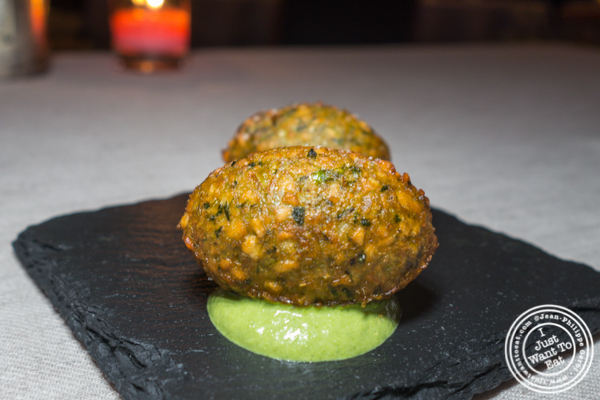 White lentil fritter at L'Appart in NYC, NY