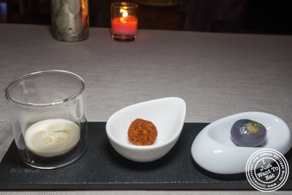 Vegetarian canapés at L'Appart in NYC, NY
