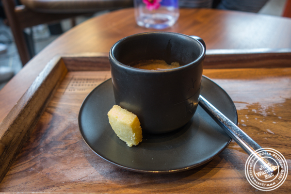 Double espresso at Starbucks Reserve Roastery in NYC, NY