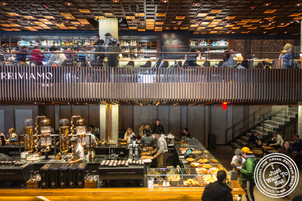 Bar and sandwiches at Starbucks Reserve Roastery in NYC, NY