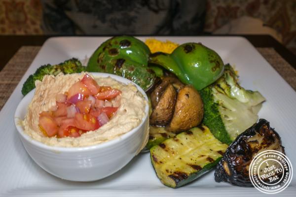 Vegetarian kebab at Ravagh Persian Grill in NYC
