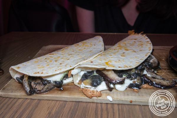 Mushroom quesadillas at Vida Verde in NYC, NY