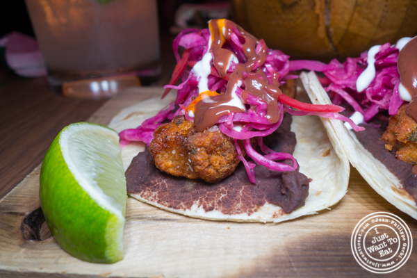 Crispy fish tacos at Vida Verde in NYC, NY