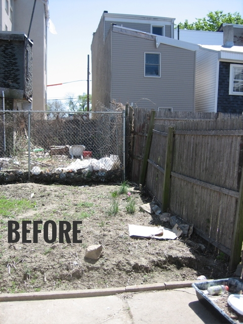 BEFORE - THE CONCRETE WALL HID THE EYESORE NEIGHBOR
