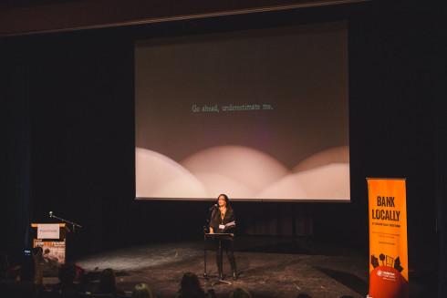 Julia presenting at PowHERTalks Sechelt November 2015