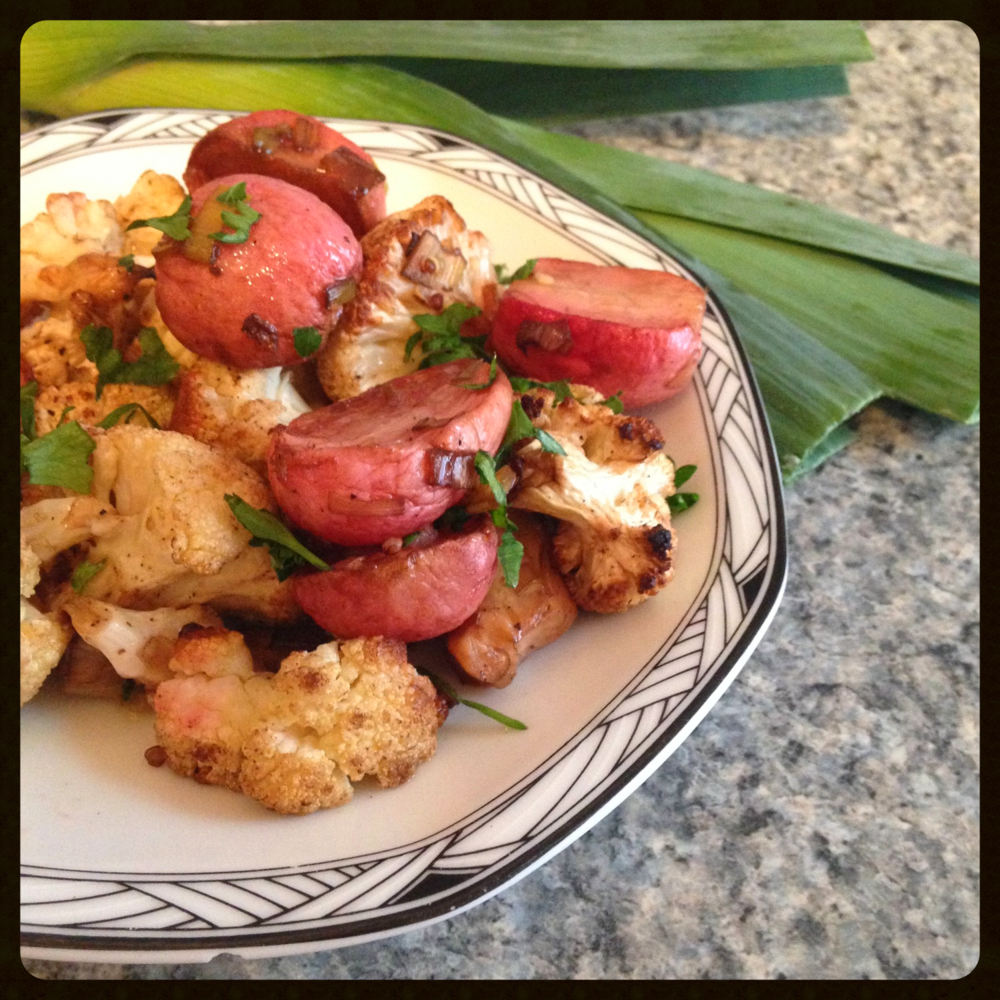 Roasted Radish and Cauliflower Salad