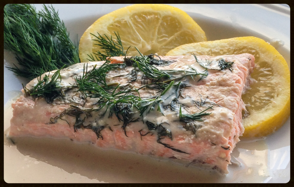 Lemon-Tahini Salmon with Dill