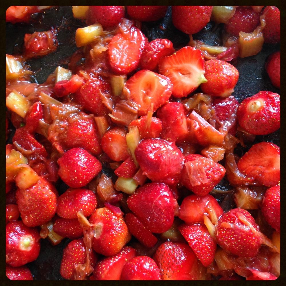 Strawberries, rhubarb and ginger