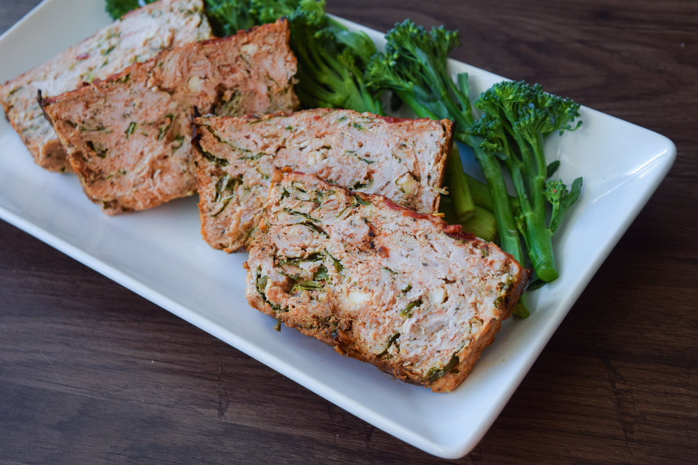 Turkey Meatloaf with Spinach and Feta