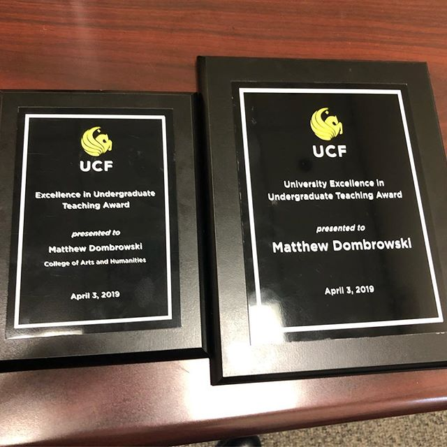 Honored last week to have been awarded both the CAH College and the University UCF Excellence in Undergraduate Teaching awards!!! #CreateEDU #highereducation #BeLimbitless #Steam #ucf #artsatucf