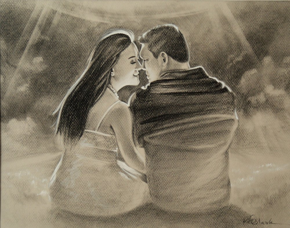 "ROY & AMY   | 11x14"" charcoal on paper"