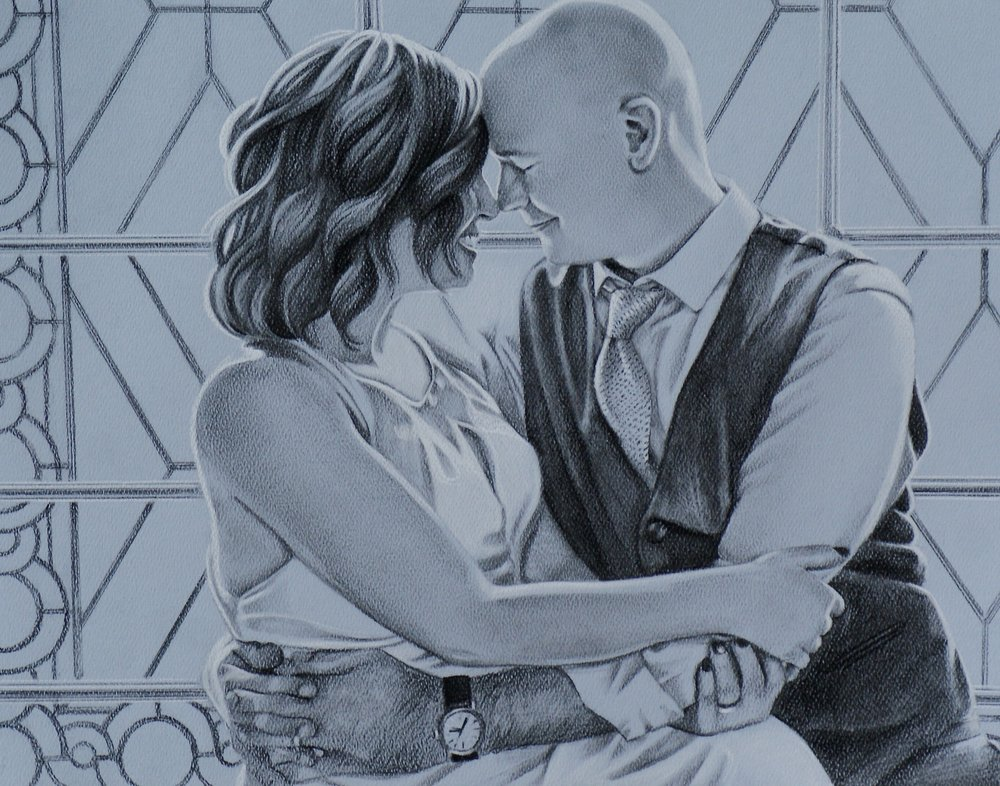 "NEAL & SARA   | 11x14"" charcoal on paper"