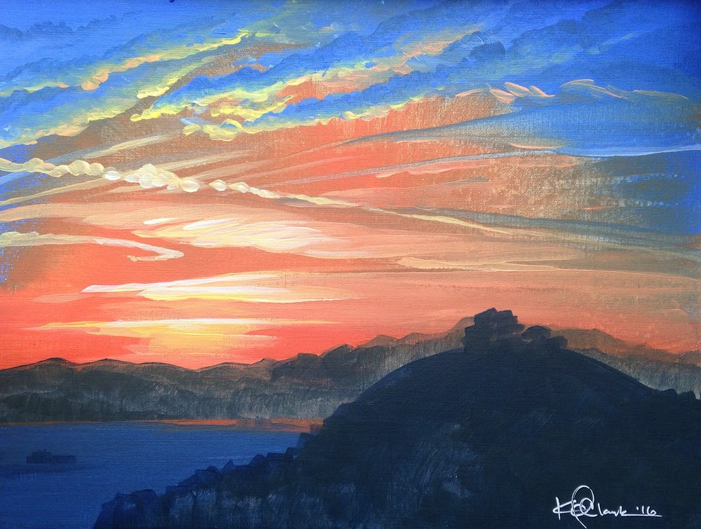 "SUNRISE OVER THE BAY | 9x12"" acrylic on canvas board"