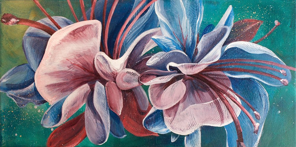 "FUSCHIA FANTASY | 12x24"" acrylic on canvas"