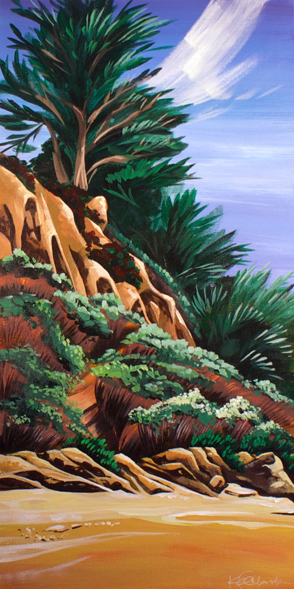 "JETTING CYPRESS | 12x24"" acrylic on canvas"