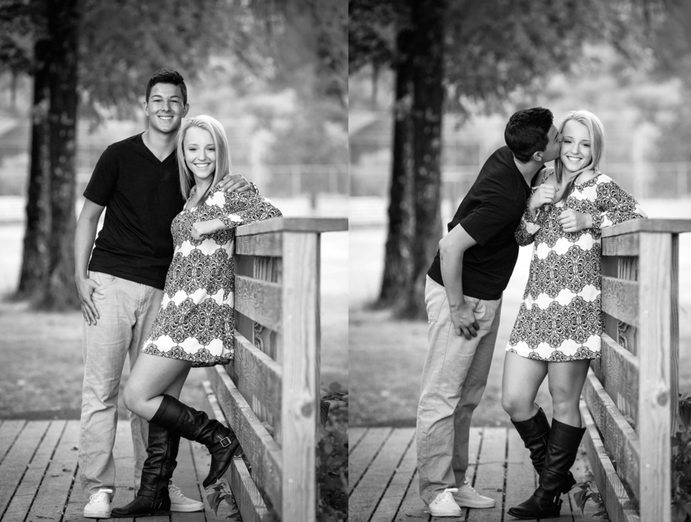 corvallis, oregon senior photographers-couple-bridge-kiss-cheek-dress