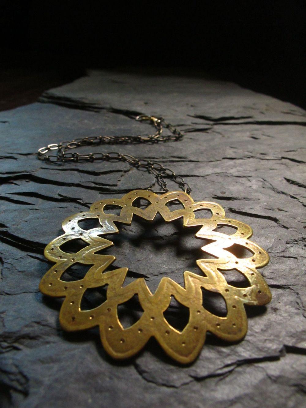 Lace lotus pendant