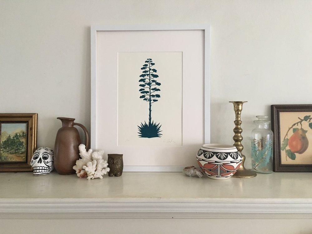 Century Plant Print, Teal on White