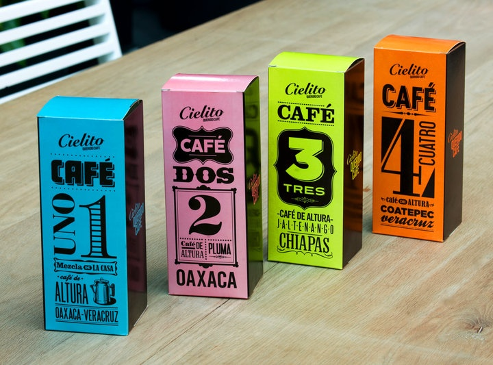 Cool coffee packaging by Cielito Cafe in Mexico