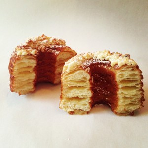Flaky layers of donut