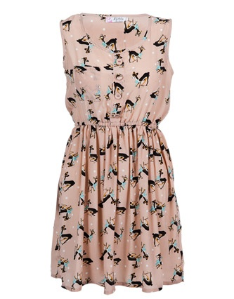 Deer print dress from USC clothing.