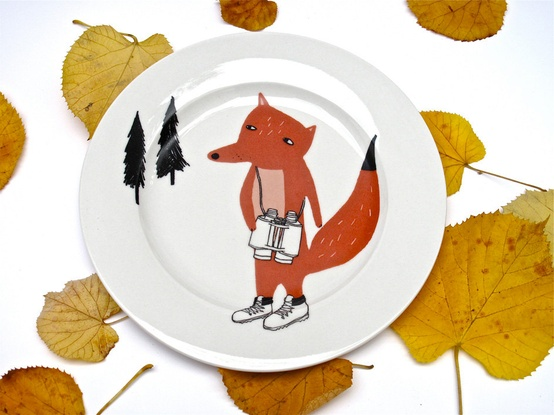 Set the table with these fox plates by Kim's Little Monsters on Etsy.com.