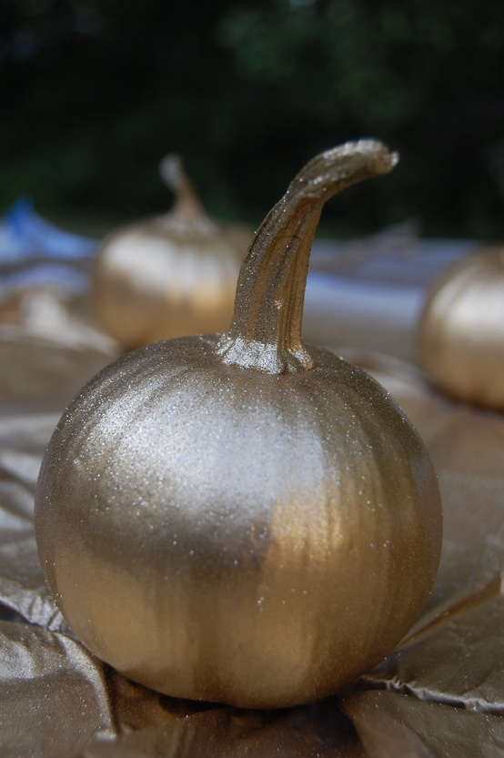 Don't know what to do with those little leftover Halloween pumpkins? Add some more shimmer to your dinner table by spray painting them with metallic gold paint.
