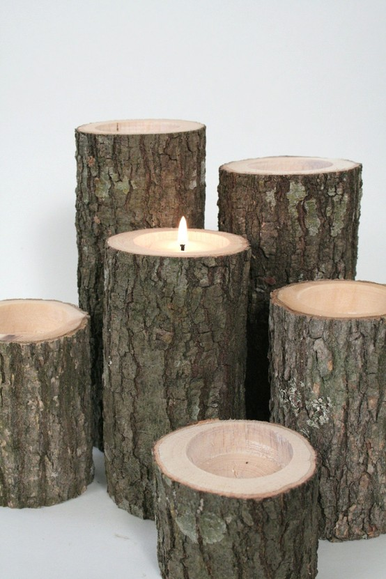 Add a warm glow to your dining room with tree branch candles (pictured candles from Etsy.com).