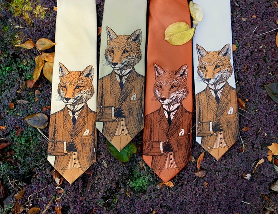Arrive in thematic style wearing this dapper fox necktie from Etsy.com.