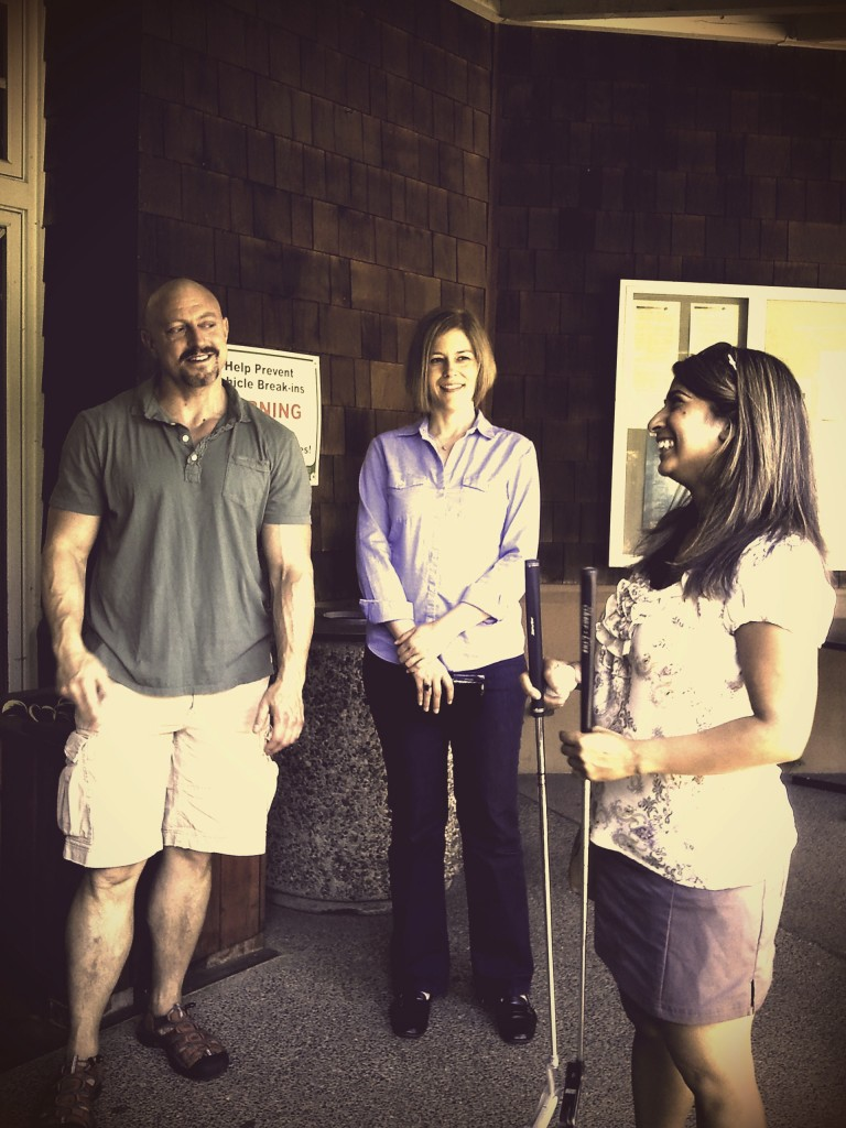 Friend and former colleague Neena meets up with Patrick and crew at the golf course for a surprise putting lesson