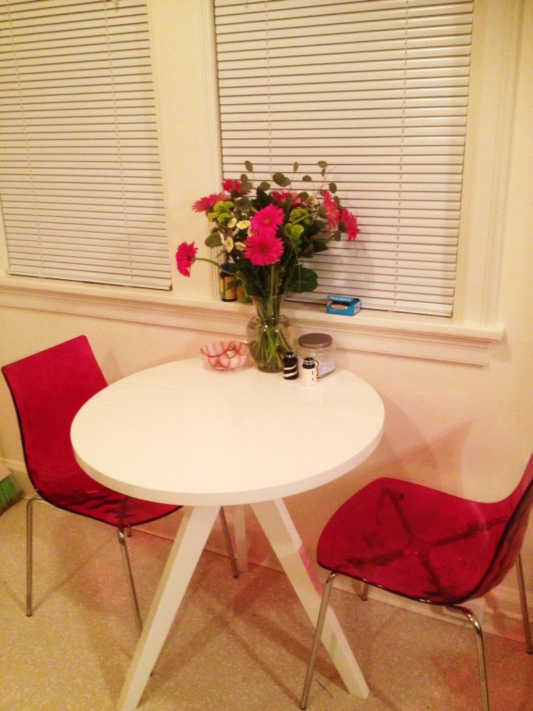 Our little kitchen table. You can see our little jar of memories, another nostalgia-inducer.