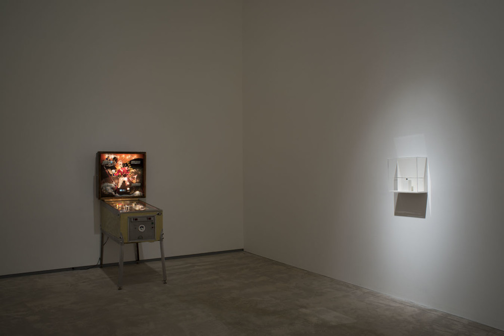 Musketball!, 2012, Pinball machine, Plexiglas, acrylic paint, vinyl, mp3 trigger and speakers, 178 x 72 x 136, Replica musket ball, 1.3 cm dia.