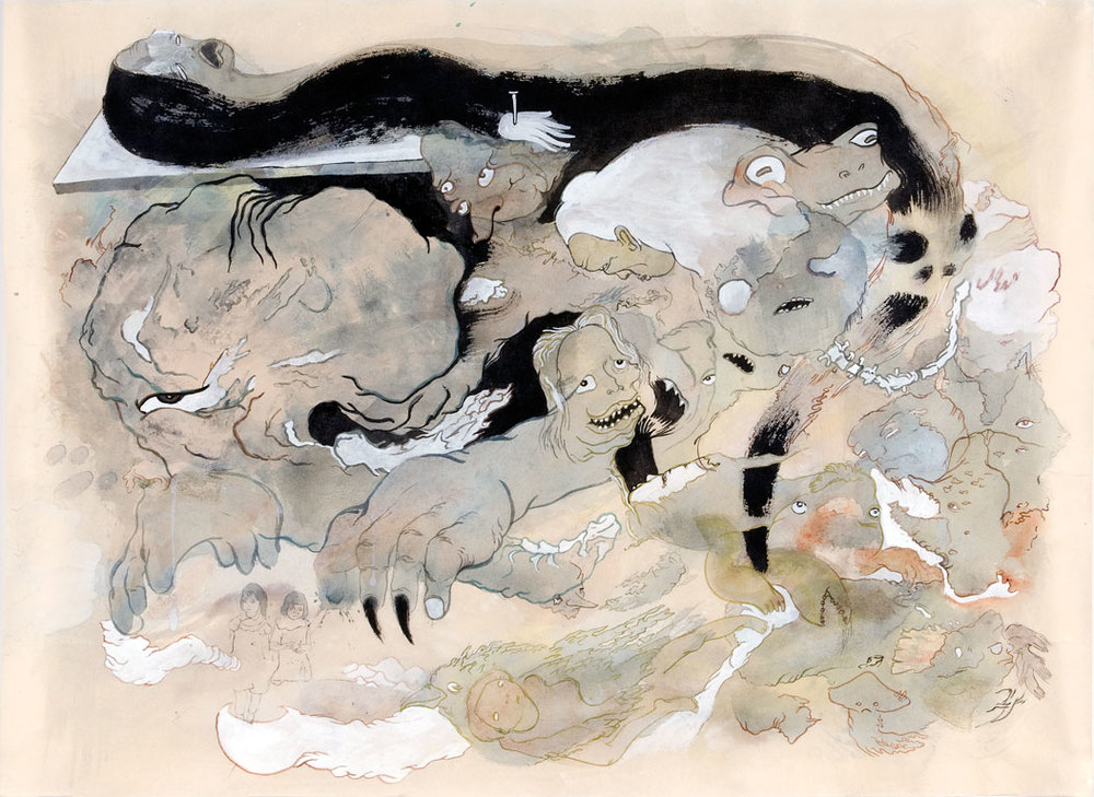"Cumulus Dark, 2008, 18.5"" x 25"", ink and paint pigments on mulberry paper"