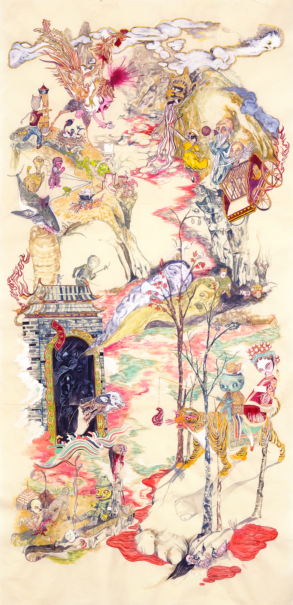 "Mount Abundance and the TipToe People #1, 2010, 75"" x 38"", ink and paint pigment on mulberry paper"