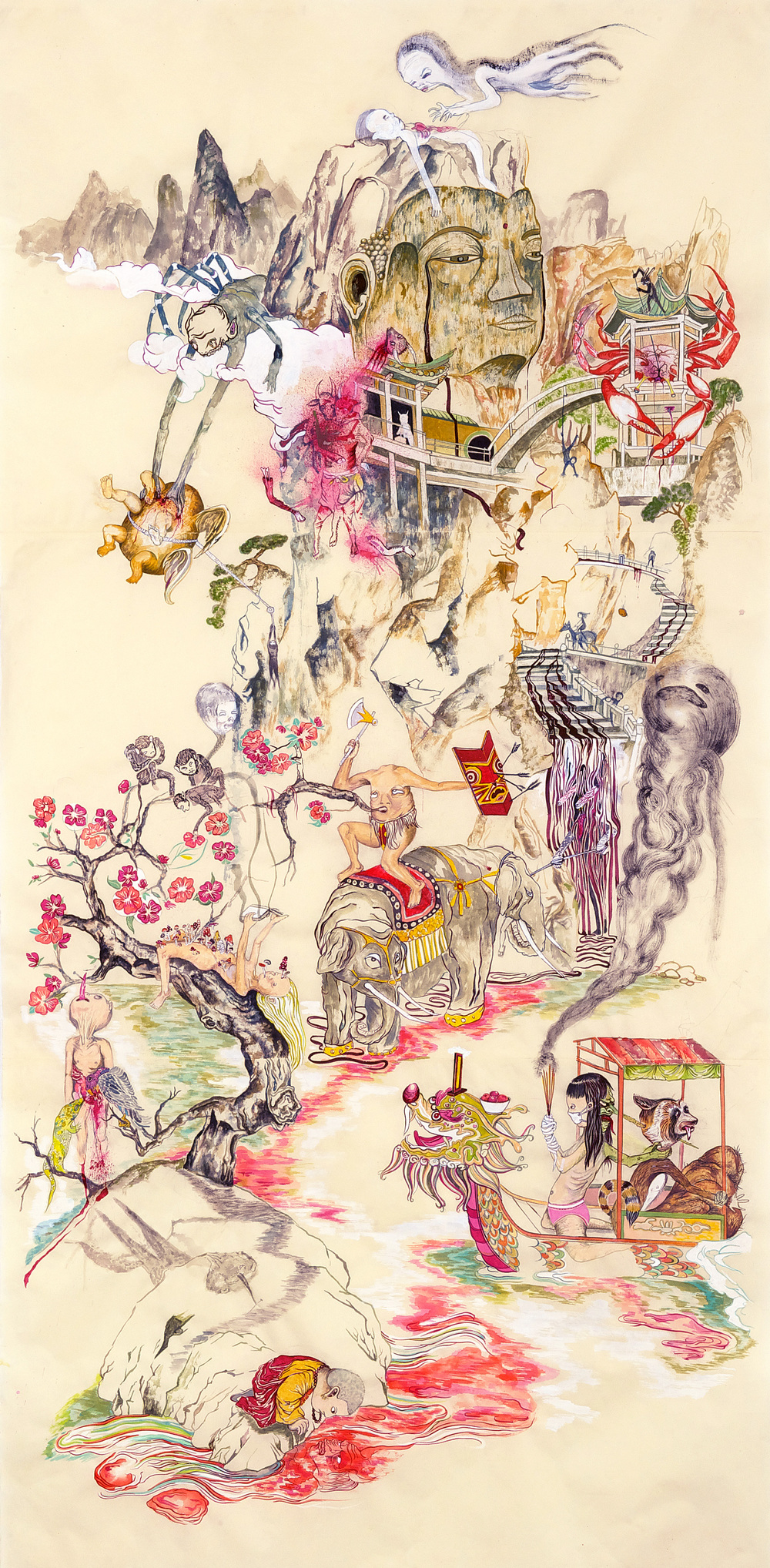 "Mount Abundance and the TipToe People #2  , 2010, 75"" x 38"", ink and paint pigment on mulberry paper"
