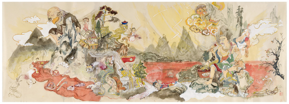 "Tengu's World, 2009, 25"" x 74"",  ink and paint pigment on mulberry paper"