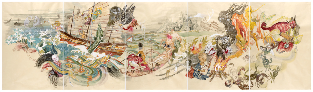 "Dead Sea, 2009, 38"" x 125"", ink and paint pigment on mulberry paper"