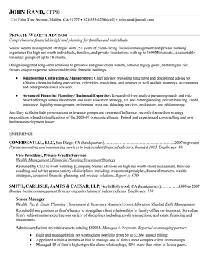 private wealth advisor - Wealth Management Advisor Sample Resume