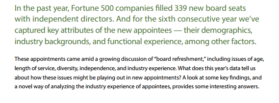 "From Heidrick & Struggles Board Monitor: ""How the Most recent cohort of Fortune 500 board appointments is shifting the landscape in board composition, diversity, and talent."""