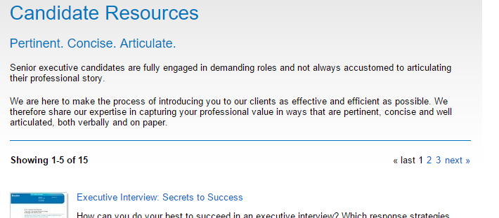 Screenshot from Boyden Global Executive Search website illustrating ways executive job seekers should prepare.