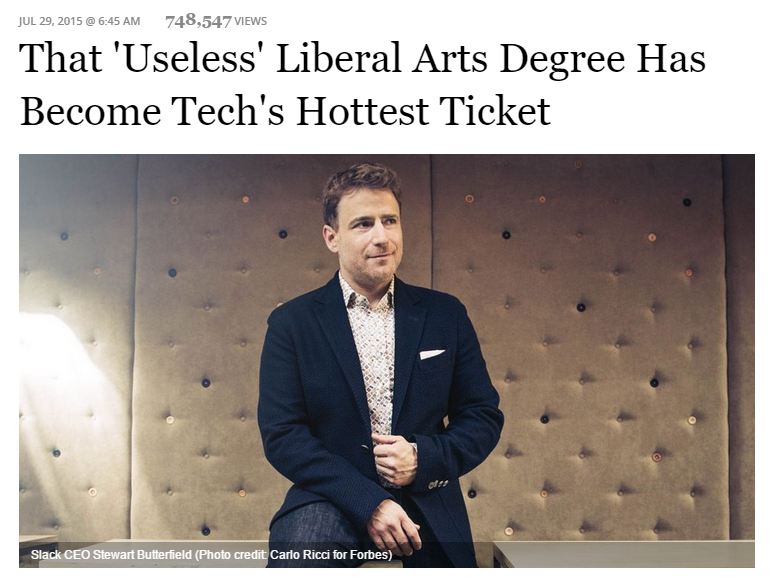 Screenshot of Stewart Butterfield, Slack's CEO, in George Anders' recent Forbes.com article. Photo credit: Carlo Ricci.