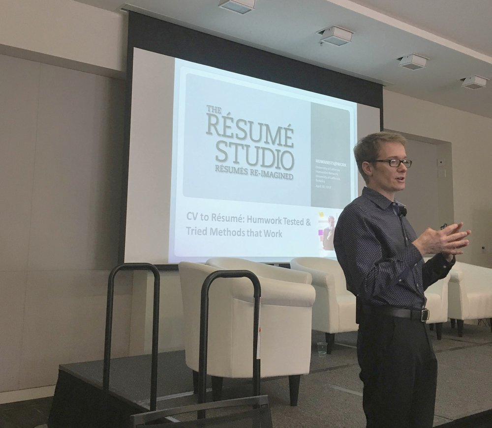 Jared Redick presents at the final formal HumWork, April 30, 2018, a University of California Humanities Research Institute-produced gathering of humanities PhDs. Jared presented at all but one of UCHRI's sessions statewide.