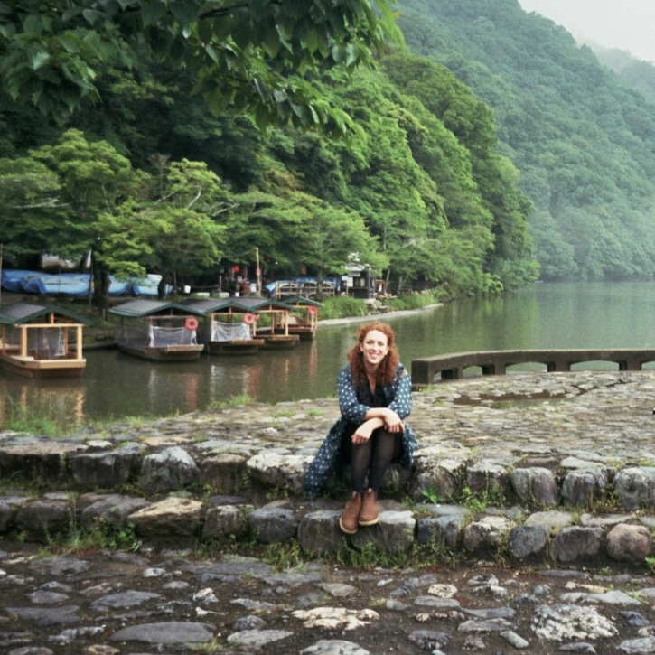 Enthused and happy on the banks of the Katsura River, Arashiyama, Japan.
