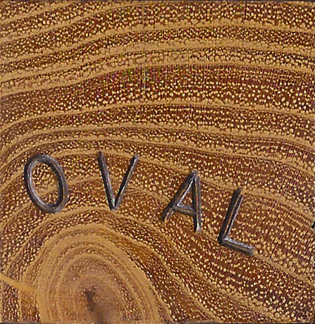 """Oval""  (above center) Red Oak with Black Locust batten, [Height 9 1/8"" x Length 32 9/16"" x Depth 17 3/8""]  (All tables-Length is measured along or parallel to the table top grain. Depth is measured across or perpendicular to the table top grain)"
