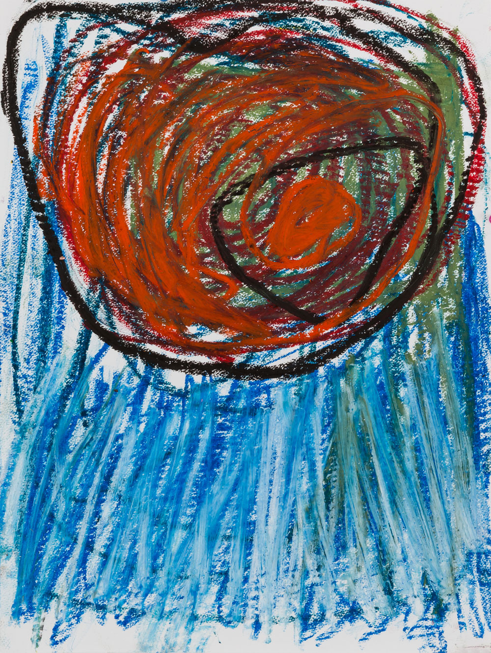 Red Circle  , oil pastel on paper, 17x14 in. ©Denise Gale 2016