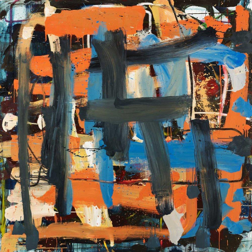 Orange Crush  , oil on canvas, 72x72 in. ©Denise Gale 2018