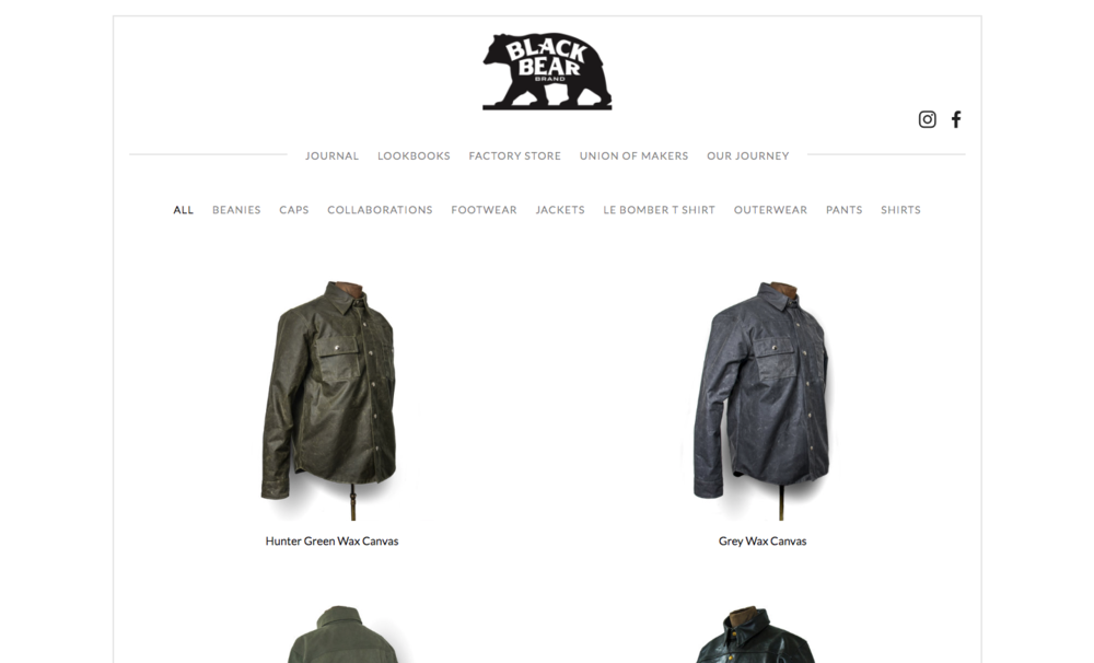 black bear brand store page