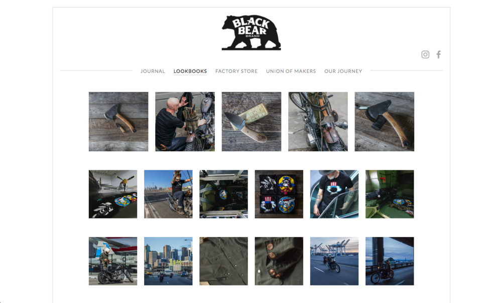 black bear manufacturing lookbook page