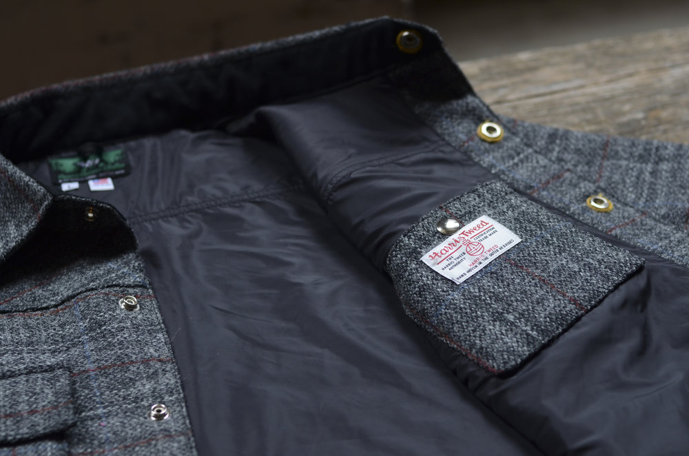 Black Bear Brand Gray Harris Tweed Shirt Jacket