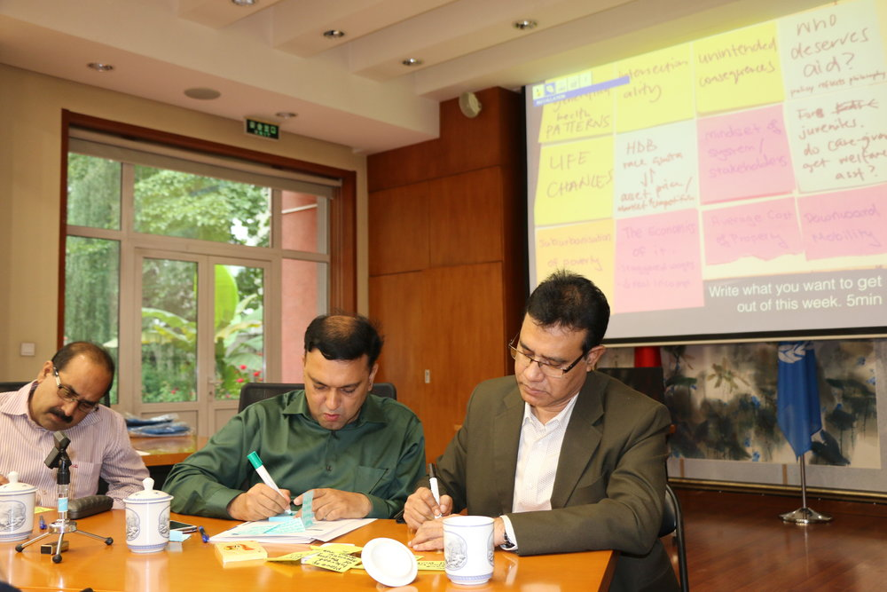 Workshop with Bangladeshi mayors in Beijing, where we distilled the key issues they were trying to solve